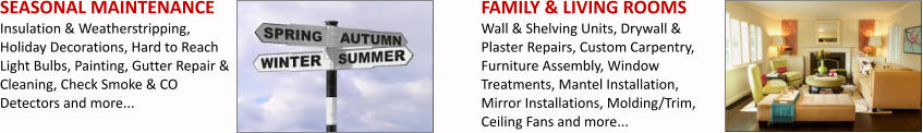 SEASONAL MAINTENANCE Insulation & Weatherstripping, Holiday Decorations, Hard to Reach Light Bulbs, Painting, Gutter Repair & Cleaning, Check Smoke & CO Detectors and more... FAMILY & LIVING ROOMS Wall & Shelving Units, Drywall & Plaster Repairs, Custom Carpentry, Furniture Assembly, Window Treatments, Mantel Installation, Mirror Installations, Molding/Trim, Ceiling Fans and more...